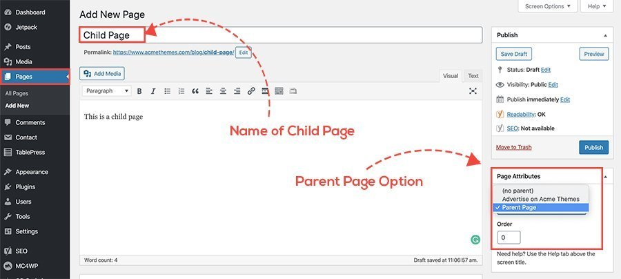 how to create child page in wordpress
