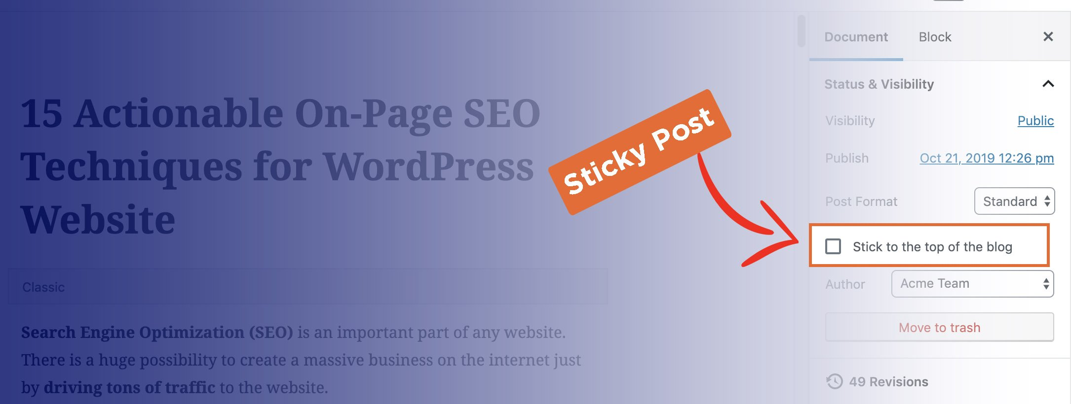 sticky post in wordpress