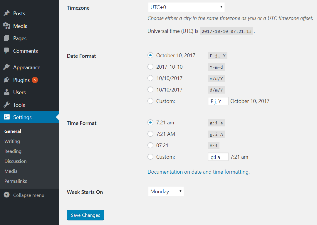 Change Date and time format on your WordPress site