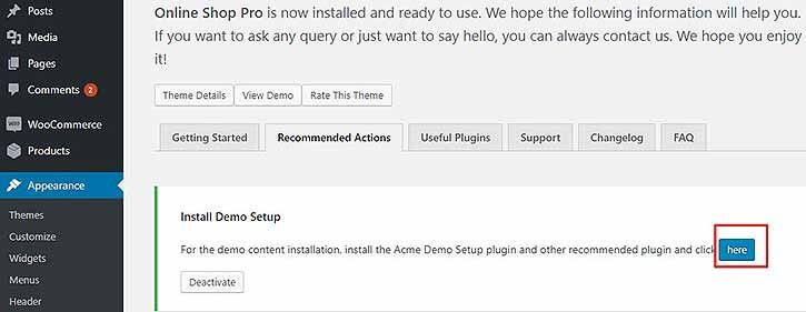 import demo contents in Acme Themes