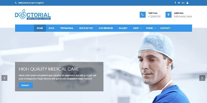 Doctorial Free Medical WordPress Themes