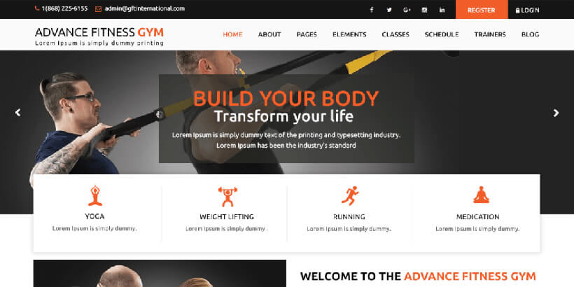 advance fitness free fitness wordpress themes