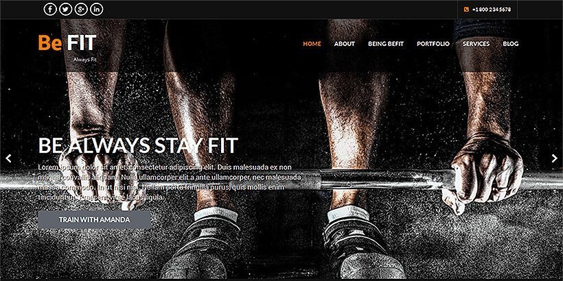 befit free gym fitness wordpress themes