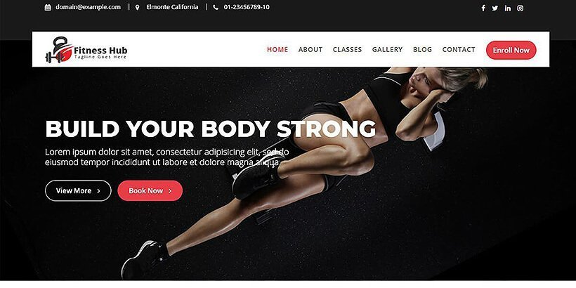 fitness hub free fitness wordpress themes