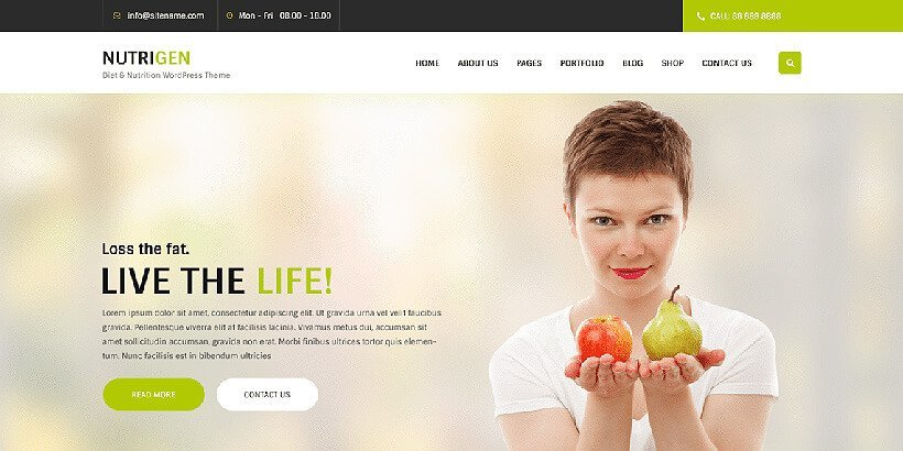 nutrigen free gym fitness wordpress themes