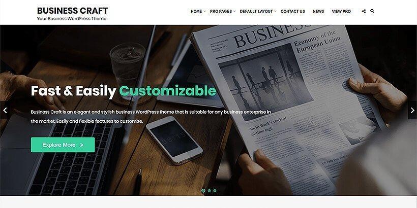 business craft free wordpress business themes