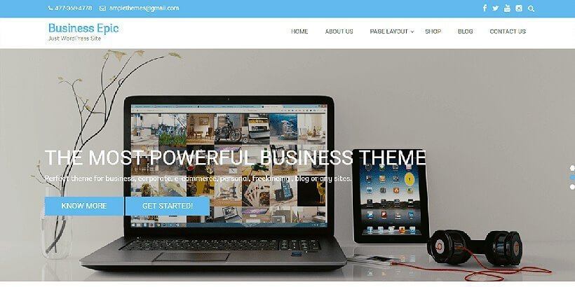 business epic free wordpress business themes