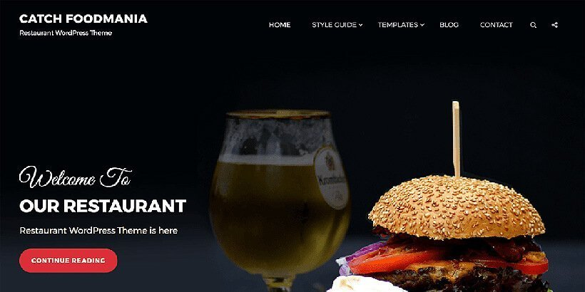 catch foodmania free restaurant wordpress themes