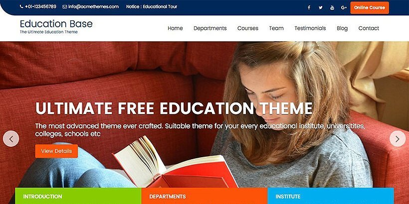 educationbase free education wordpress themes