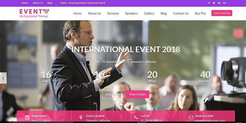 eventstar free wordpress business themes