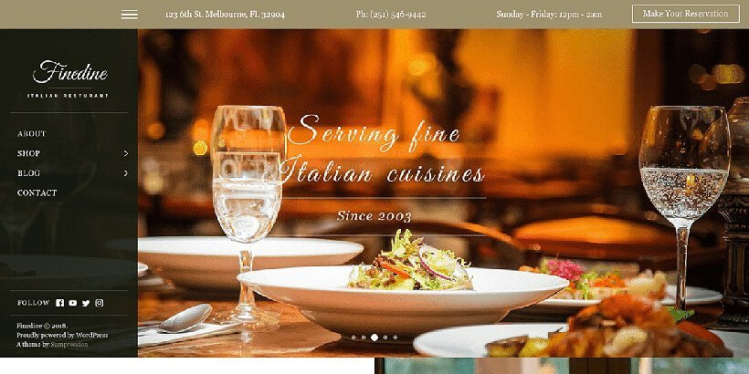 finedine free restaurant wordpress themes