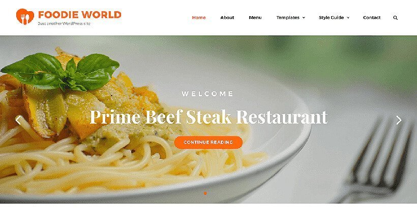 foodie world free restaurant wordpress themes