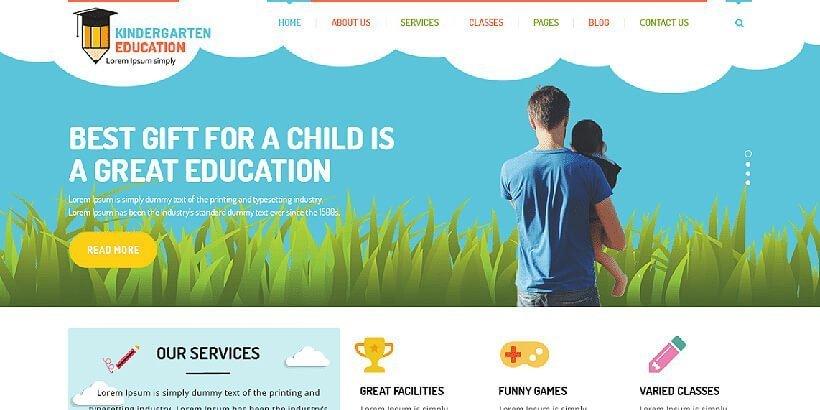 kindergarten free education wordpress themes