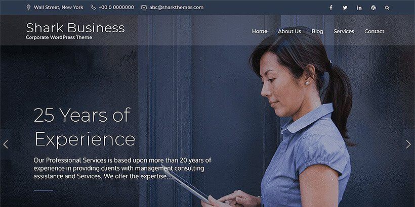 shark business free wordpress business themes