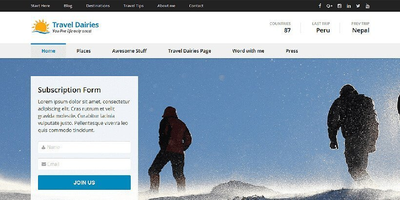 traveldiaries free wordpress travel themes