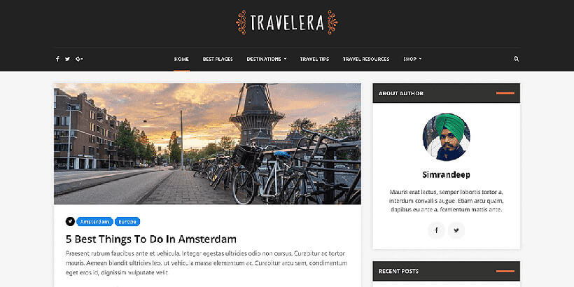 traveleralite free wordpress travel themes