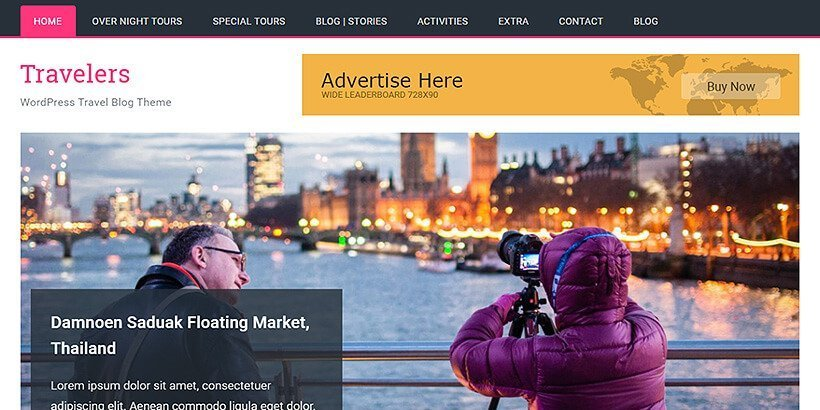 travelers free wordpress travel themes