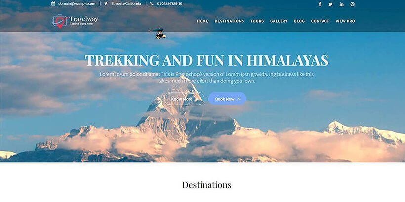 travelway free wordpress travel themes