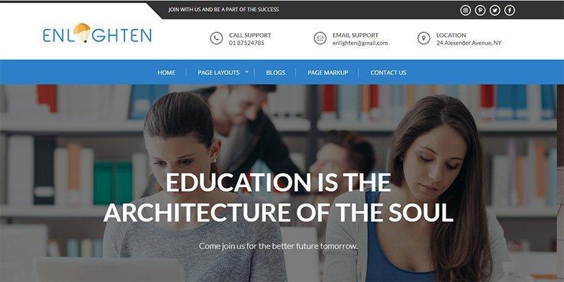 Enlighten free education wordpress theme