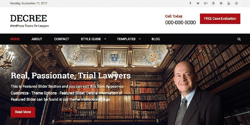 decree free lawyer wordpress themes