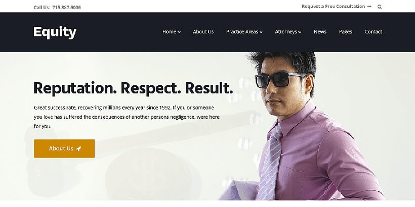 equity free lawyer wordpress themes
