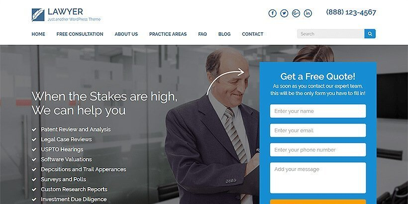 lawyer landing free lawyer wordpress themes