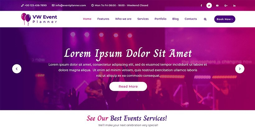 vwevent free event wordpress themes