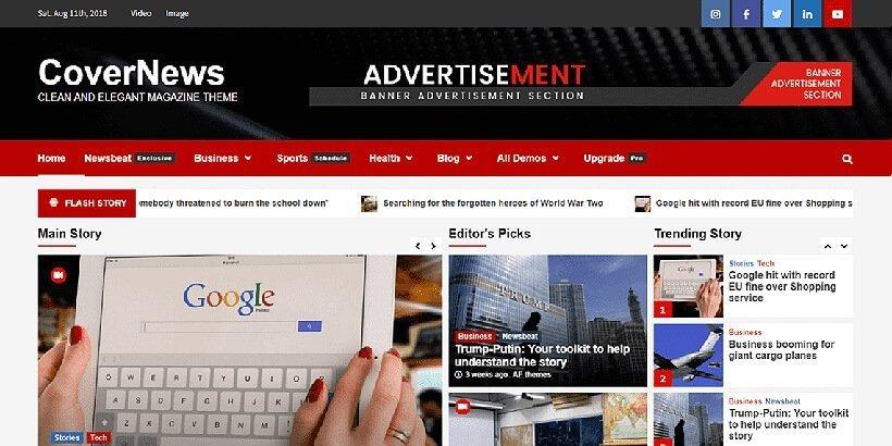 covernews free magazine wordpress themes