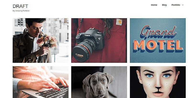draft free portfolio wordpress themes
