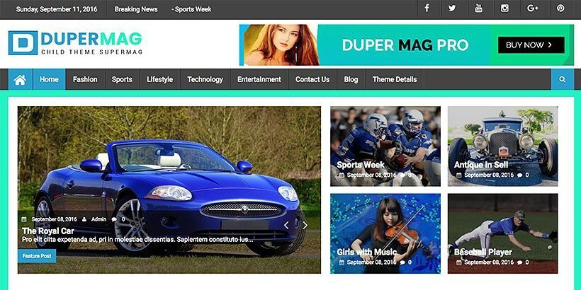 dupermag free magazine wordpress themes