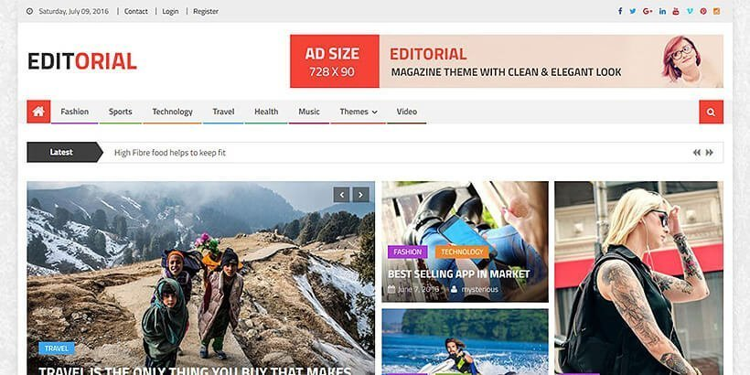 editorial free magazine wordpress themes