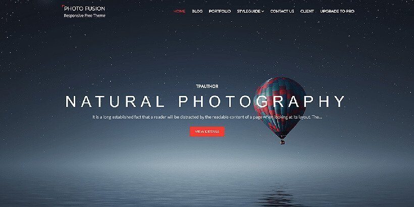 photofusion free photography wordpress themes