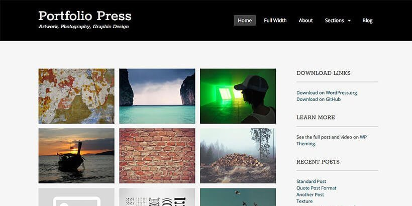 portfoliopress free portfolio wordpress themes