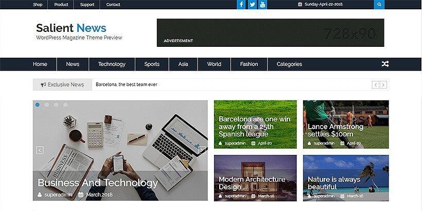 salientnews free magazine wordpress themes