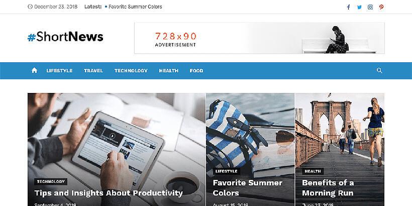 shortnews free magazine wordpress themes