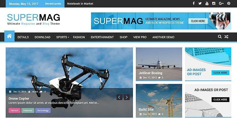supermag free magazine wordpress themes