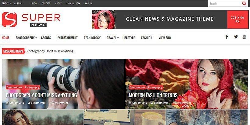 supernews free magazine wordpress themes