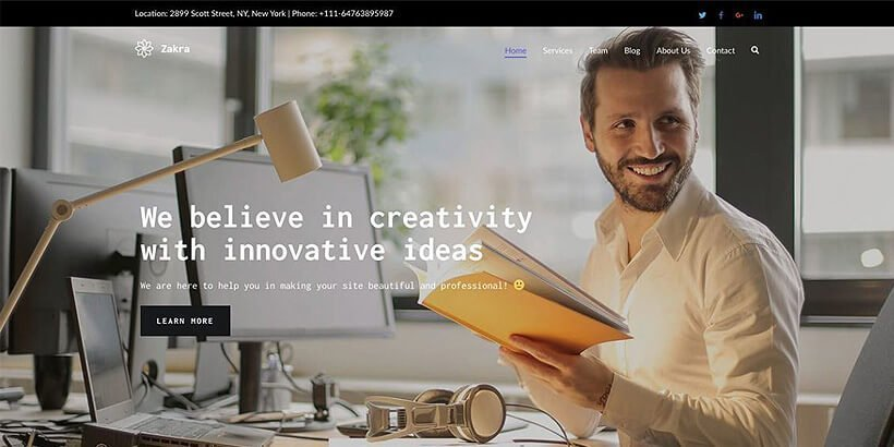 zakra free portfolio wordpress themes