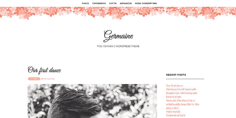 germaine free feminine wordpress themes