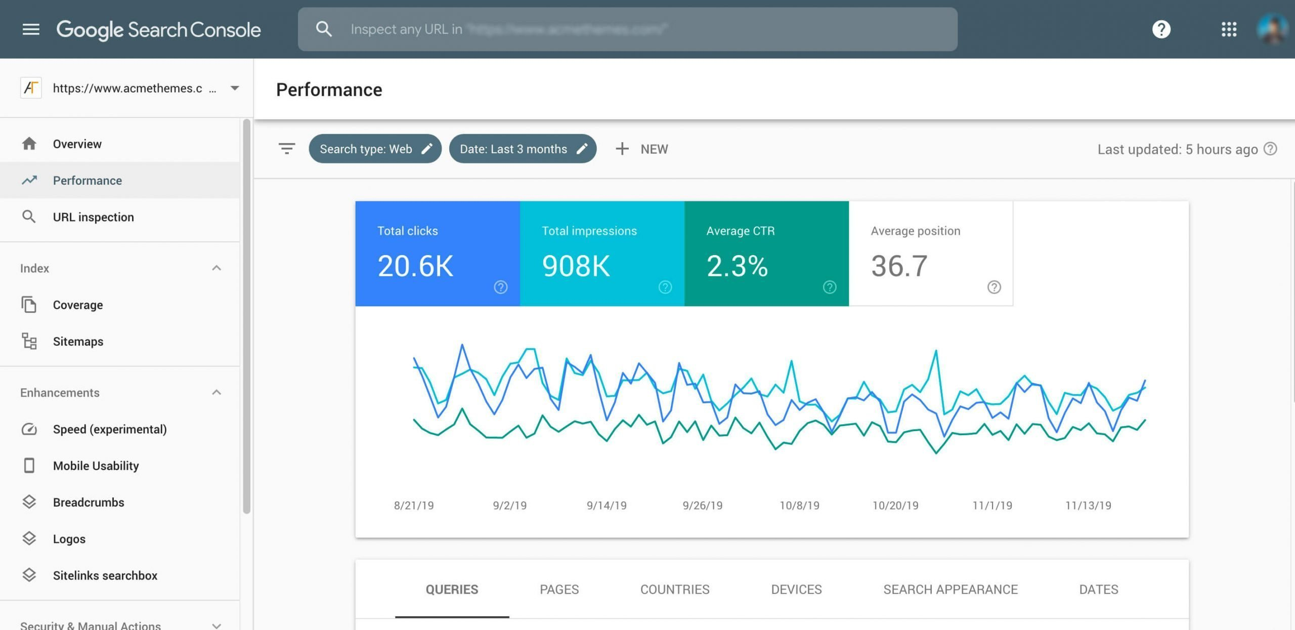 Google search console Screen shot