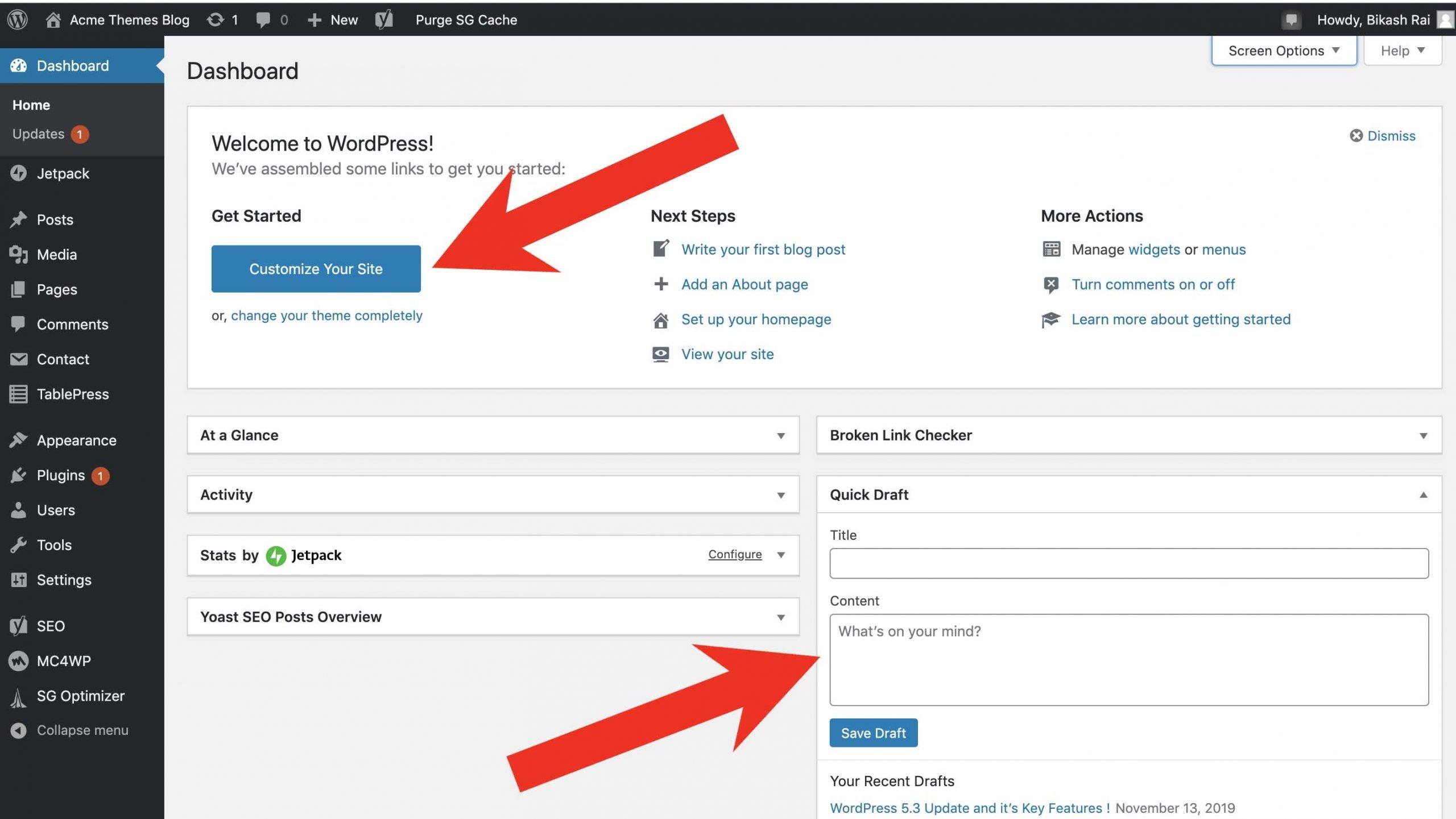 New Admin WordPress Area