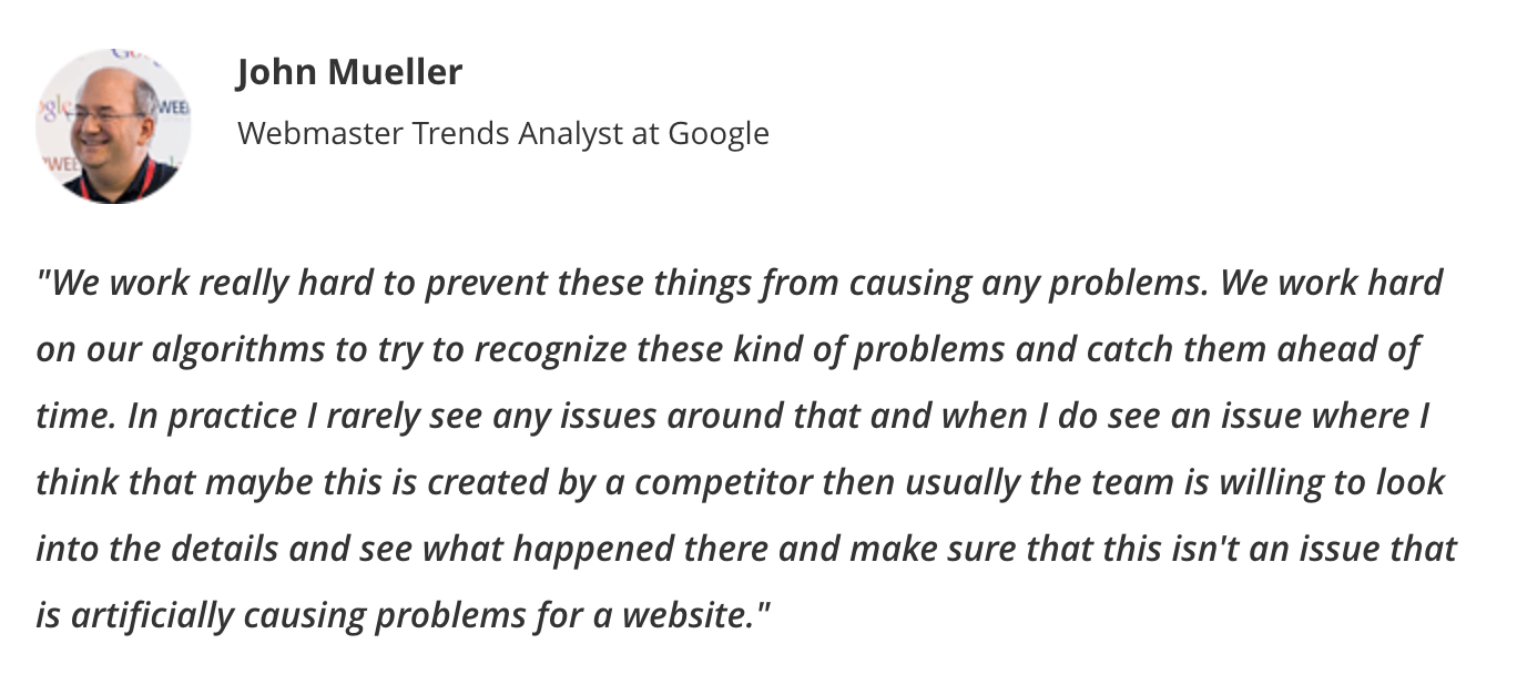 John Muller quote about negative SEO