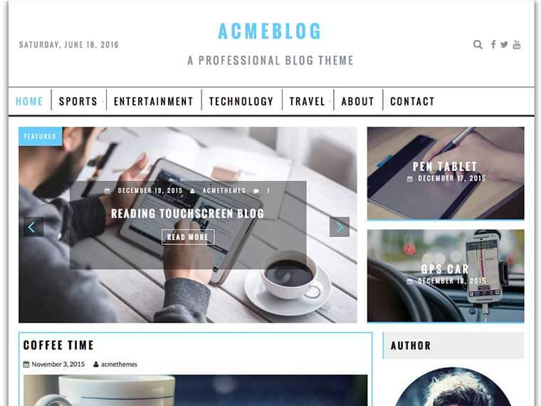 AcmeBlog Professional Blog News And Magazine WordPress Theme - Blogger photography templates professional
