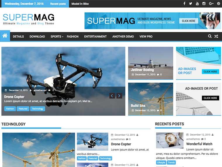 SuperMag : Ultimate Magazine, News and Blog WordPress Themes