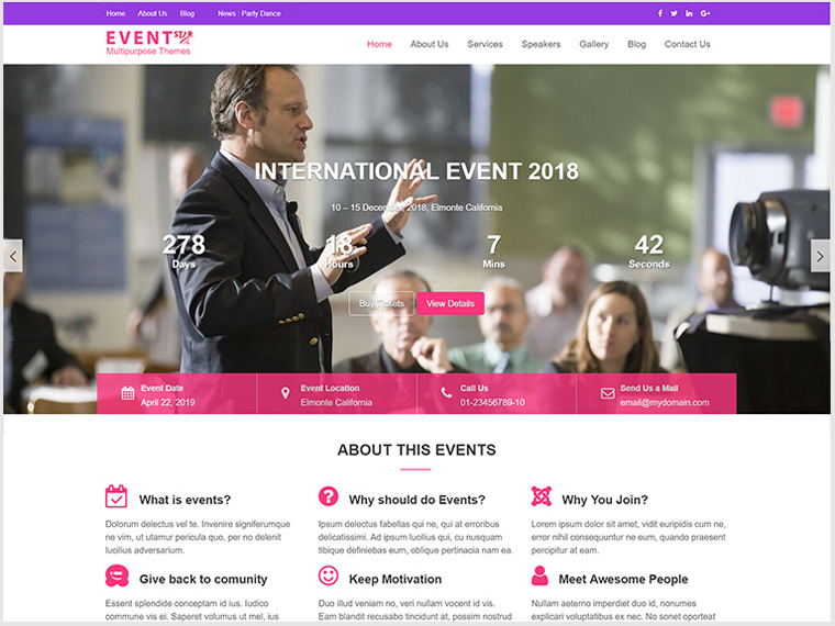 Event Star Multipurpose Event & Conference WordPress Theme