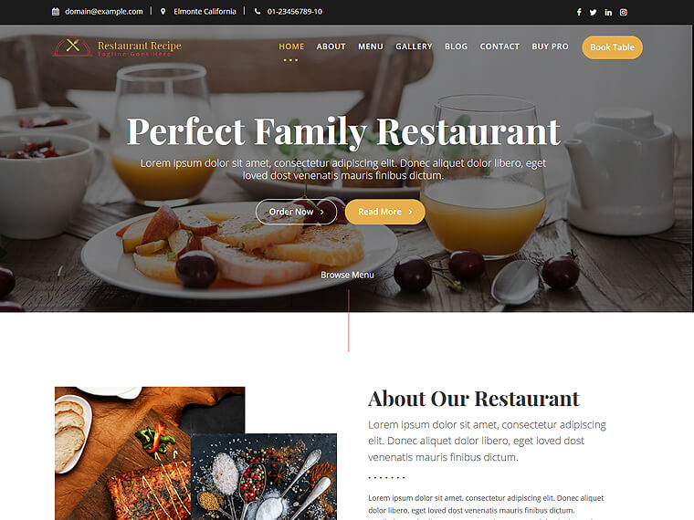 Restaurant Recipe Restaurant And Cafe Free WordPress Theme
